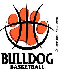 bulldog basketball team design with paw print inside a large basketball outline