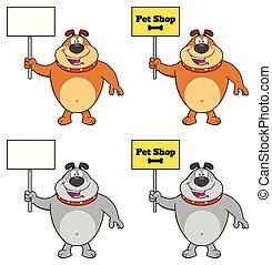 Bulldog Cartoon Mascot Character Set 2. Vector Collection
