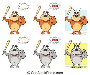 Bulldog Cartoon Mascot Character Set 3. Vector Collection