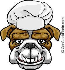 Bulldog Chef Mascot Cartoon Character