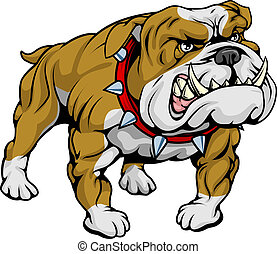 A cartoon very hard looking bulldog character.