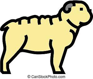 bulldog dog color icon vector illustration