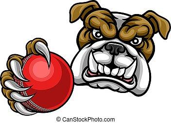 Bulldog Dog Holding Cricket Ball Sports Mascot