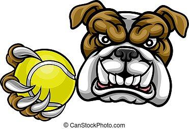 Bulldog Dog Holding Tennis Ball Sports Mascot