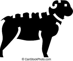 bulldog dog line icon vector illustration