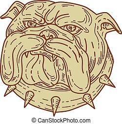 Bulldog Dog Mongrel Head Collar Mono Line