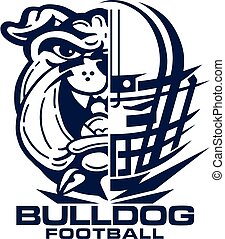 bulldog football team design with mascot and facemask for school, college or league