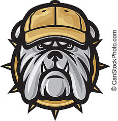 Bulldog head and baseball cap (angry bulldog, bulldog vector illustration)