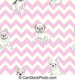 bulldog pattern - vector illustration