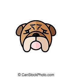 bulldog pet mascot breed head character