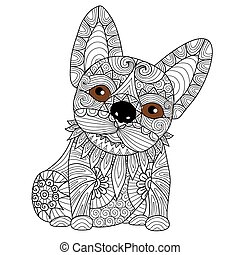 Bulldog puppy coloring page
