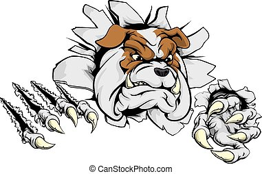 A scary bulldog ripping through the background with sharp claws