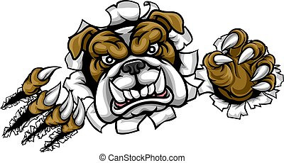 Bulldog Sports Mascot Ripping Through Background