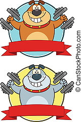 Bulldog With Dumbbells Labels