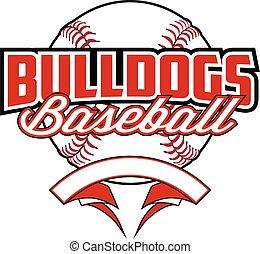 Bulldogs Baseball Design With Banner and Ball
