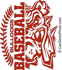 bulldogs baseball team design with stitches and half mascot for school, college or league