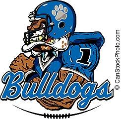 bulldog football player mascot design