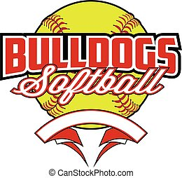 Bulldogs Softball Design With Banner and Ball