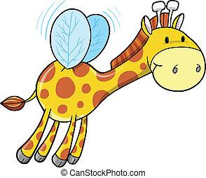 Cute Safari Bumble Bee Giraffe Vector Illustration art
