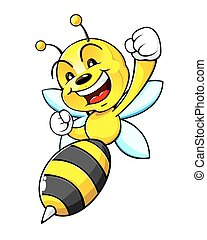 An illustration of a bumblebee, smiling, and shouting