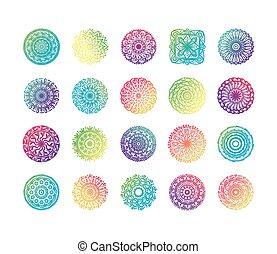 bundle of colorfull twenty mandalas set icons