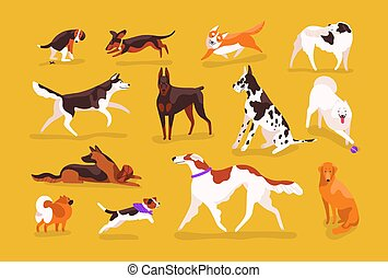 Bundle of cute dogs of various breeds playing, running, walking, sitting, pooping. Set of adorable cartoon pet animals isolated on yellow background. Colorful vector illustration in flat style.