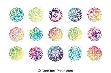 bundle of fifteen colorfull mandalas set icons