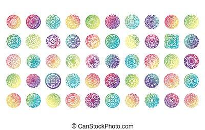 bundle of fifty colorfull mandalas set icons