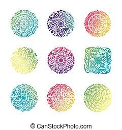 bundle of nine colorfull mandalas set icons