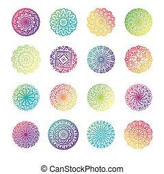 bundle of sixteen colorfull mandalas set collection icons