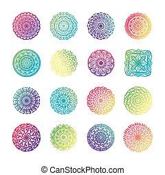 bundle of sixteen colorfull mandalas set icons