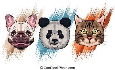 bundle of three animals domestics and wild set icons