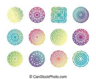 bundle of twelve colorfull mandalas set icons