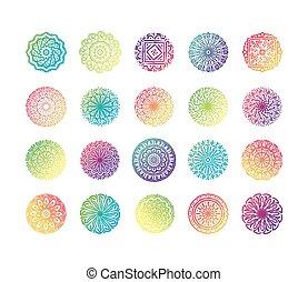 bundle of twenty colorfull mandalas set collection icons