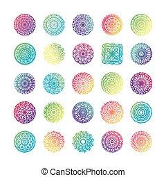 bundle of twenty five colorfull mandalas set icons
