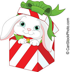 Bunny in a Christmas gift box