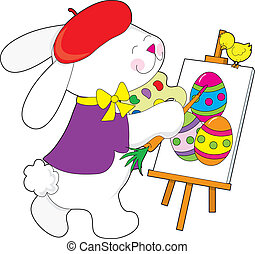 Bunny Painting Eggs