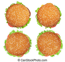 burger with vegetables and meat isolated on white. Top view.