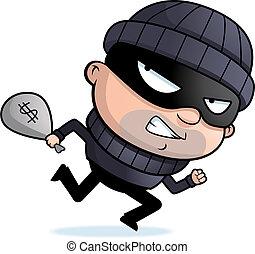 A cartoon burglar running.