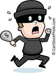 A cartoon kid burglar running in fear.