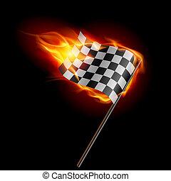 Illustration of the burning checkered racing flag on black