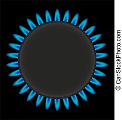 burning gas ring stove vector illustration isolated on white background