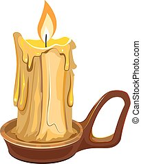 Burning wax candle in a stand. Illustration in vector format