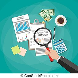 Cartoon businessman hand with magnifying glass looking financial report, money, coins, coffee cup, calculator, pen, sticky notes, financial analysis. vector illustration flat design green background