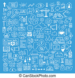 Hand drawn vector illustration icons set of business strategy, brainstorming and website development doodles elements. Isolated on dark blue background.