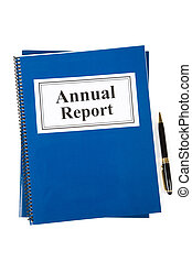 Business Annual Report and pen with white background