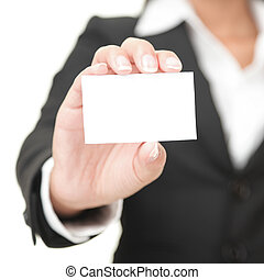 Business card closeup - businesswoman in black suit holding blank empty sign.