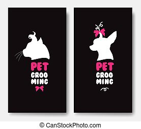 Business card template with silhouettes of cat and a dog on blac