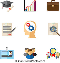 Business career colored icons for presentations and templates in modern flat style
