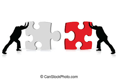 business concept of achievement of success illustrated via puzzle togetherness